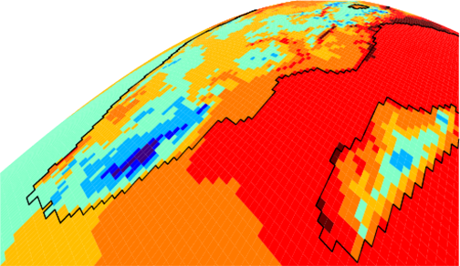 satellite view of surface temps over southern Africa