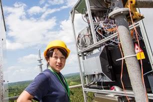 Li Zhang on tower, Alabama SOAS research
