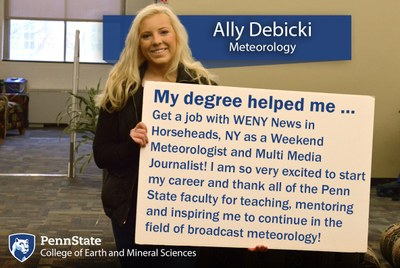 Alumnus Ally Debicki explains how her Penn State Meteorology degree helped her land a job at WENY News in Horseheads, NY after graduation.